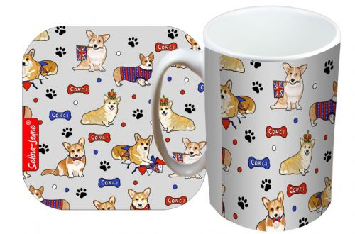 Selina-Jayne Corgi Dogs Limited Edition Designer Mug and Coaster Set